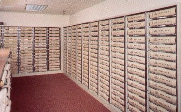 Courthouse record room with roller shelving